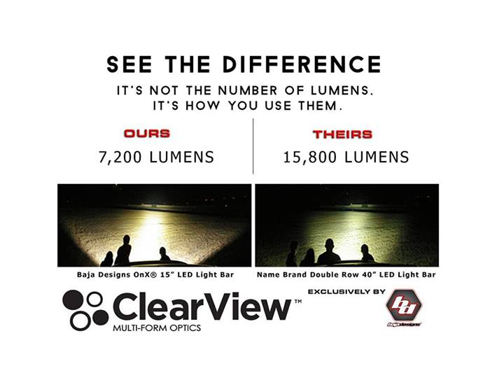 baja designs clear view light comparision chart